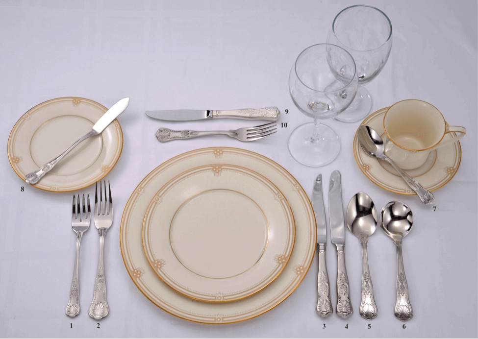 Formal setting with Soup bread plate coffee service and dessert : plate settings and silverware - pezcame.com